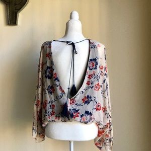 Lovely floral blouse w/ low back